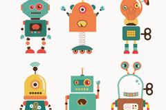 6 cartoon robot vector