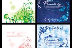 Cartoon flower cards vector
