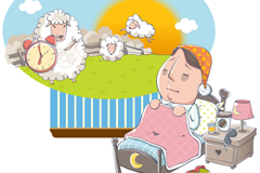 Insomnia men count sheep cartoon vector illustration