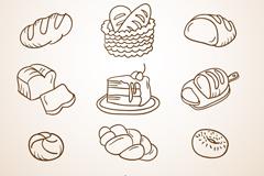 12 bread dessert design vector