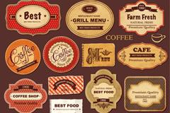 17 vintage coffee label vector