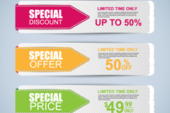 3 color promotional banner design vector