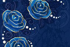 Elegant blue rose background vector