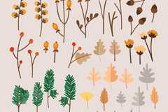 39 branches and leaves design vector