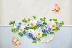 Fresh flowers and Butterfly background vector