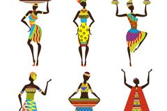 6 women's African design vector
