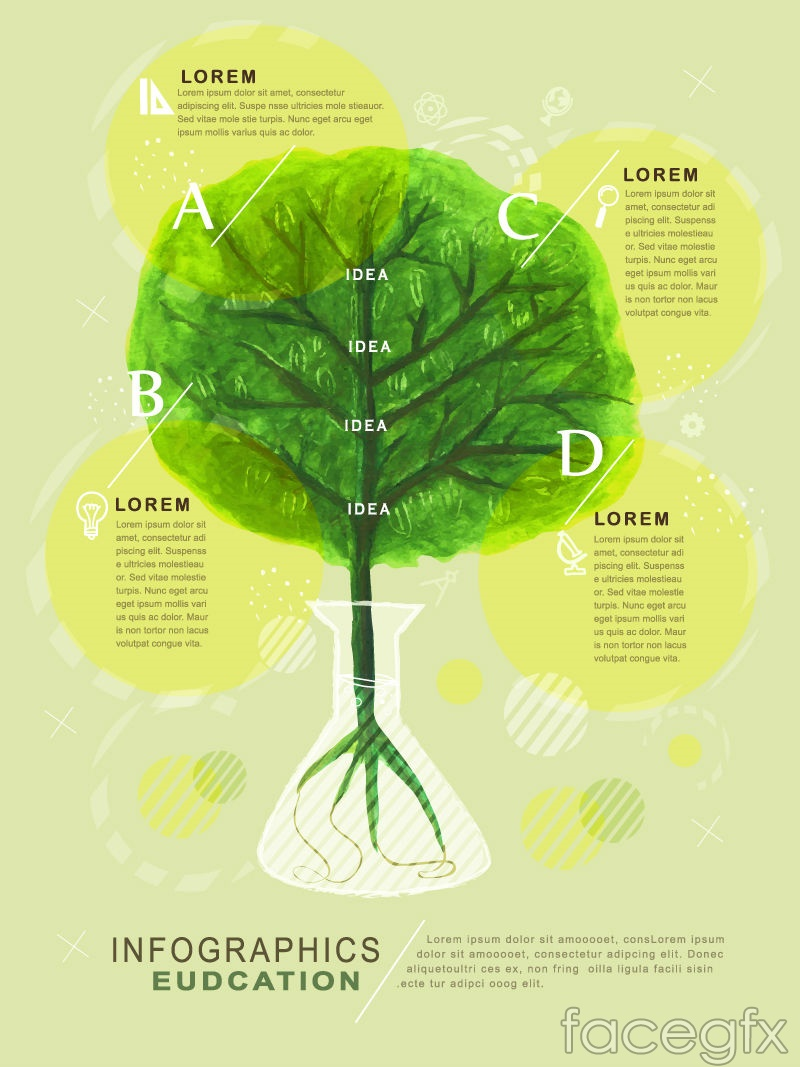 Painted Tree Education Infographic Vector Free Download