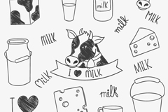 11 hand-painted cows and milk products vector