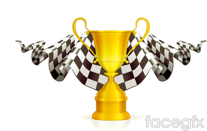 F1 Formula One Racing Trophy With The Flag Design Vector