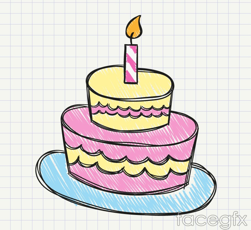 Cake Pictures Vector : Painted birthday cake vector Free download