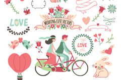 27 cute wedding element vector