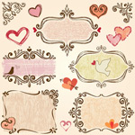 Valentine's day hand-painted elements vector