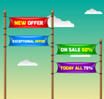 Color promotional banners vector