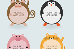 4 cartoons round the animal label vector