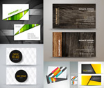 Realistic wood grain business cards vector