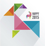 Colorful geometric-shaped goat vector