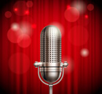 Silver stage microphone vector