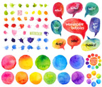 Colorful watercolor designs vector