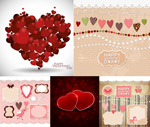 Red heart-shaped, and borders vector