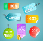 Colour discount stickers vector