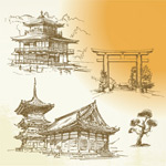 Hand-painted ancient architecture vector