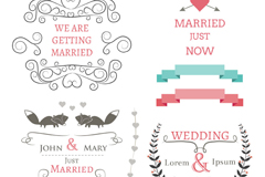 6 wedding design elements vector