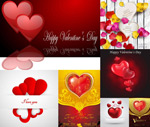 Heart-shaped elements and patterns vector