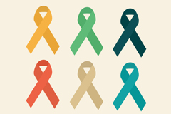 6 color AIDS ribbon logo design vector