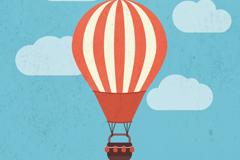 Cartoon striped hot air balloon vector