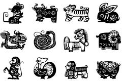 12 Chinese zodiac sign black paper-cut vector