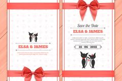 Bows wedding invitation card vector