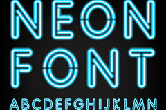 Blue neon alphabet vector