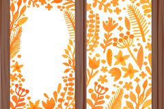 Orange flowers watercolor banner vector