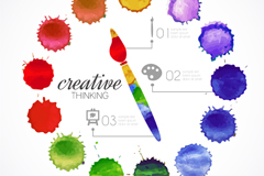 Watercolor pens and dot vector illustration