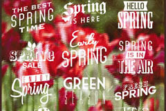 12 spring time WordArt white vector diagrams