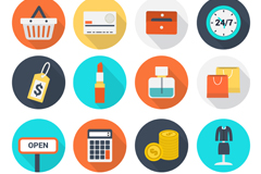 16 round e-commerce icons vector