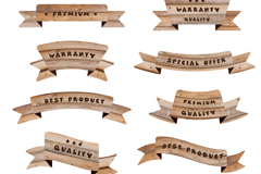 10 quality promotional wood ribbons vector diagrams