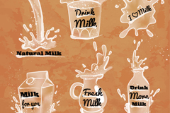 6 splash milk labels vector