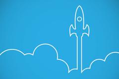 White flight rocket cartoon vector