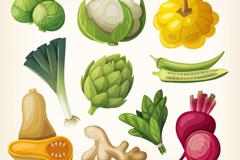 10 cartoon vegetables design vector graph