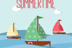 Summer sailing clip art vector