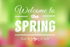 Welcome to the spring word art poster vector