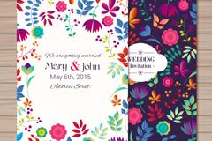 2 cartoon vector flower wedding invitations