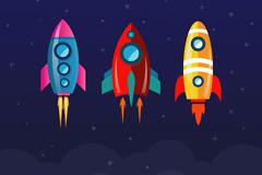 3 cartoon rocket design vector graph