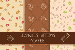 3 coffee seamless background vector