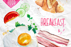 4 water stained breakfast food vector