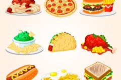 9 delicious fast food vector