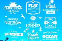 9 summer holiday word art vector illustration