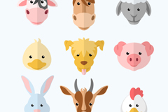 9 cute animal avatar vector illustration