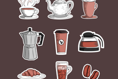 9 paper coffee icon vector